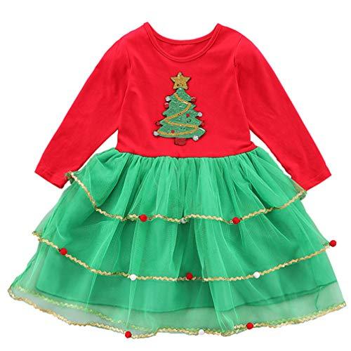 ABOOFAN Vestido de Tutú de Navidad de Manga Larga Estampados de Árboles...