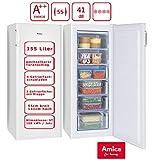 Amica Gefrierschrank Weiß Tiefkühltruhe A++ 155 Liter   4 Schubalden und 2 Fächer   141 cm hoch 55 cm breit   GS 324 100 W