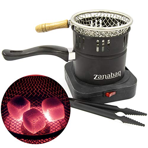 Zanabaq Hochwertiger Shisha Kohleanzünder mit Kohlekorb, Elektrische Heizplatte mit Zange, Kohle schnell anzünden und einfach transportieren