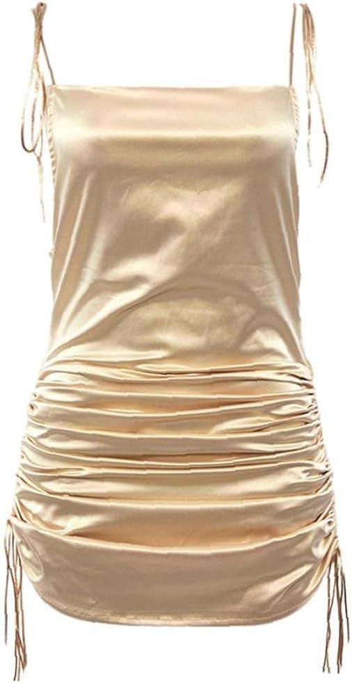 Spaghetti Dress Party Strap Dress Women Club Wear Backless Bodycon Drawstring Ruched Dress Golden M