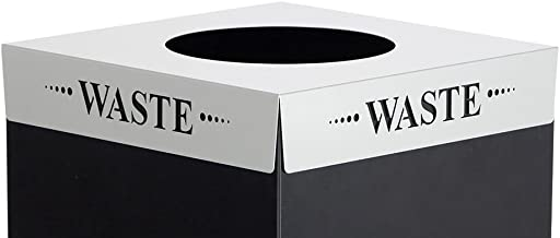 Safco Products 2990WA Square-Fecta Recycling Trash Can Lid, (for use with Public Square Base sold separately), Silver
