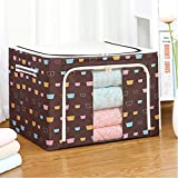 ADICOM Oxford Fabric Storage Box with Steel Frame, Double Zipper Folding Holder Container Organizer with Steel Frame, Stackable Storage Bag Organizers for Clothes Bed Sheets Blankets Home E