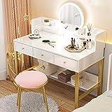 Tocador de Dormitorio - Espejo con Luces LED Mesa de Maquillaje Blanca con...