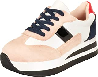 Cambridge Select Women's Retro 90s Colorblock Lace-Up Stripe Chunky Platform Fashion Sneaker
