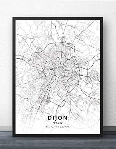 QYQMYK Leinwand Bilder,Frankreich Dijon Stadtplan Wand Bilder Drucke Poster Schwarz Weiß Gemälde Kunst Rechteck Pop Wandmalereien Kunstwerk Für Zimmer Leben Wohnkultur, 40X50Cm/15.74X19.68 In