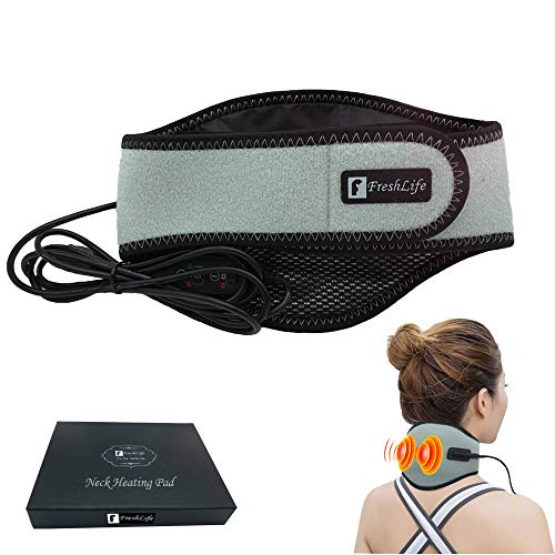 Neck Heating Pad, Freshlife Neck Pain Relief, USB Heated Neck Wrap for Pain Relief, 3 Adjustable Time & Temperature, Electric Thermal Hot Neck Brace, Heating for Soreness & Stiffness Relief (Grey)…