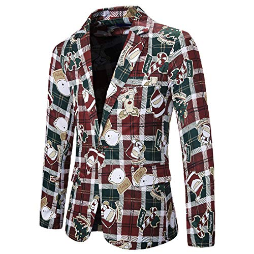 MY'S Men's Christmas Series Suit Blazer Slim Fit One Button Notch Lapel Dress Jacket Red-Green Plaid Santa