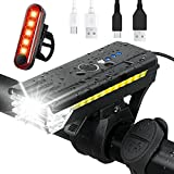 Rechargeable Bike Light Set ,Powerful Bicycle Front Headlight and Back Taillight ,Bicycle Accessories for Night Riding, Cycling -Waterproof, Fits Adult Kids MTB Helmet,Road, Mountain Bikes