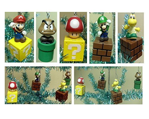 Nintendo Super Mario Brothers 5 Piece Game Scene Christmas Tree Holiday Mini Ornament Set Featuring 2.5' Ornaments of Mario, Luigi, Goomba, Koopa Troopa,and Mushroom Ornaments - Perfect for Decorating a Desk Tree or Kids Christmas Tree