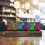 InLoveArts - Orologio digitale a LED, 6 cifre, con orologio Nixie, fai da te, multimodale, creativo, digitale, a colori variabili, decorazione in noce, tubo a LED rimovibile, regalo romantico