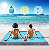 Beach Blanket, Beach Blanket Waterproof Sandproof Large Beach Blanket with Portable Bag and 4 Anchors Stakes Compact for 4-6 Adults