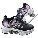 JZIYH Patines Rueda Zapatillas con Ruedas Automática Calzado De Skateboarding Zapatillas De Skate con Ruedas para Niños Y Niñas Calzado Deportivo Zapatos Skate