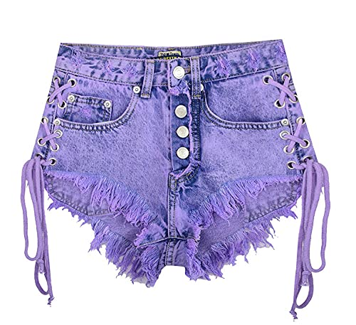 BUXIANGGAN Shorts Pantalones Cortos Mujer Pantalones Cortos De Mezclilla Macaron Morados para Mujer, Cintura Alta, Moda Rasgada, Sexy con Agujeros-Bleu_36