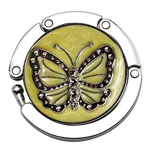 LYMUP Ganchos amarillo bolso de mesa portátil redondo Rhinestone bolsa suspensión antideslizante plegable gancho monedero patrón mariposa durable aleación de zinc
