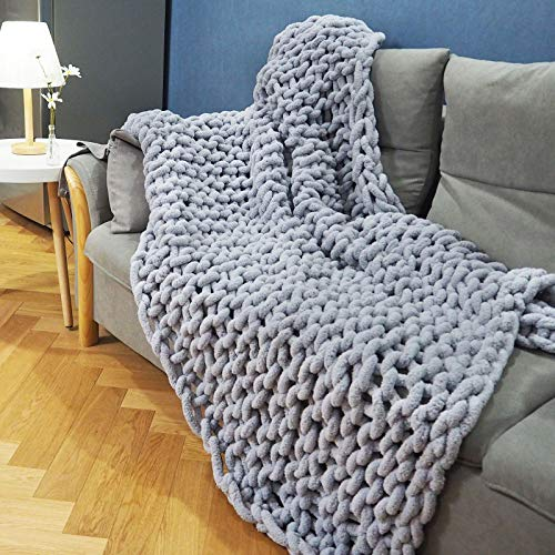 """Chunky Knit Blanket Throw(60""""x80"""",Warm Large Soft Chenille for Couch Bedroom Decor, Giant Chunky Yarn Throw Blankets Hand-Made,Pet Mat Baby Bed Chair,Super Large Grey"""