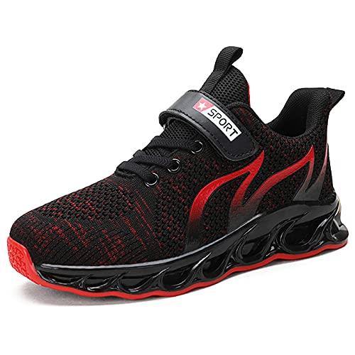 TUDOU Unisex-Kinder Sportschuhe Kinder Schuhe Turnschuhe Outdoor Laufschuhe Atmungsaktiv Leicht Laufschuhe Hallenschuh für Jungen Mädchen 29-39 (RotA, Numeric_34)