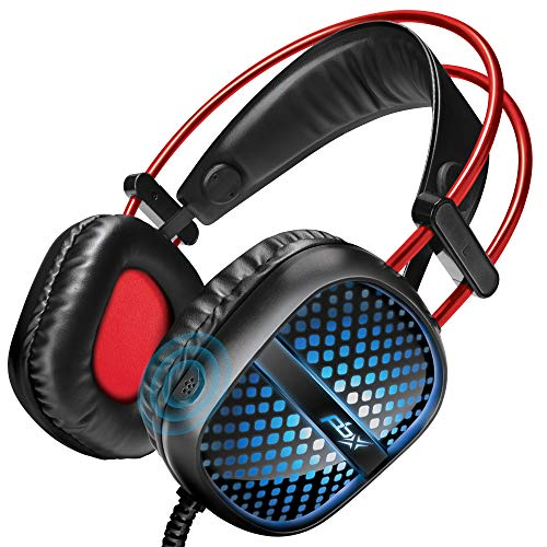 Pulse 7 Elite Gaming Headset - Red, Green Blue LED Lights, Built-in Microphone - Extra-Padded Ear Cups, Adjustable Headband, Volume Controller - Best Accessories for PS4, PC, Xbox, Nintendo Switch