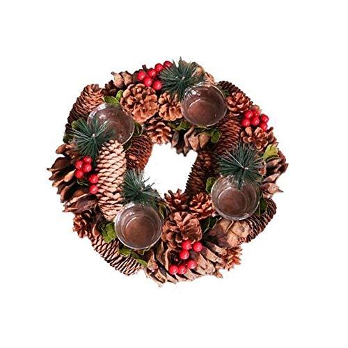 Ornamenten Houders van de Kaars Kaarsenstandaarden Pine Cone Bessen Woodland Rustiek Decor tafelstuk Krans Decoratie Premium Gifts Kandelaar (Kleur: Bruin, Maat: Met 4 kopjes)