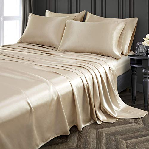 Pothuiny 6-Piece Queen Satin Sheets Luxury Silky Taupe Satin Bedding Sheet Set, 1 Deep Pocket Fitted Sheet + 1 Flat Sheet + 4 Pillow Cases