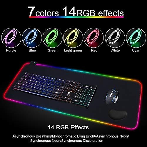 Vicloon Gaming Mauspad, RGB Mauspad mit Handgelenkauflage & Datenleitung, 7 LED Farben 14 Beleuchtungs Modi Mouse Pad, rutschfeste Gummibasis Computer Tischunterlage - XXL, 800 * 300 * 4 mm