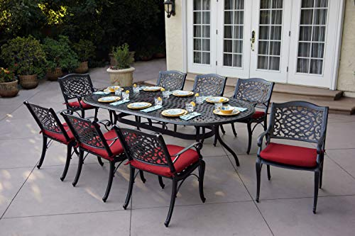AC HOME & PATIO Cast Aluminum 9 Piece Outdoor Dining Set with Seat Cushion 47'' X 95'' Oval Table, Dark Brown