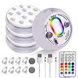 Rechargeable Submersible LED Lights with RF Remote - IP68 Waterproof Pond Lights for Inground Pool, Color Changing Underwater Lights for Bathtub Hot Tub Pond Spa Party Pool Fountain Aquarium (4 Packs)