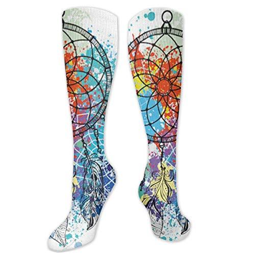 Jessicaie Shop Kleurrijke Dream Catcher compressiekousen voor mannen en vrouwen, beste sportieve pasvorm voor running Nurses Shin Splints