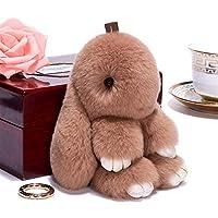 キーホルダー 14cmかわいいキーホルダーキーチェーンレディースバッグおもちゃ人形ふわふわPOM POMかわいいポンポムキーチェーン (Color : 8)