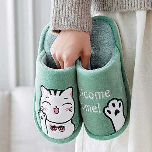 Lindo Gato Guestsfluffy Zapatillas Invierno Abrigo Zapatos De Piel Mujer Hombres Amantes...