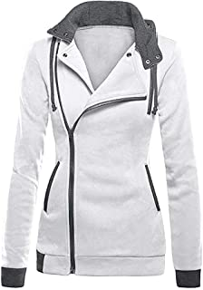 Amiley Women Fall Hoodies,Women Fashion Side Full Zip Hoodie Tops Hooded Sweatshirt Outwear Jacket Coat Pink