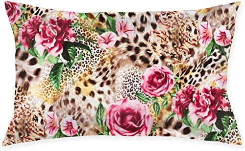 Just life Patrón de Leopardo Rosa Funda de cojín Decorativa pequeña Lumbar Funda de Almohada Funda de Almohada Decorativa Serie Living Diseño de Doble Cara 29,9'X 19,6'