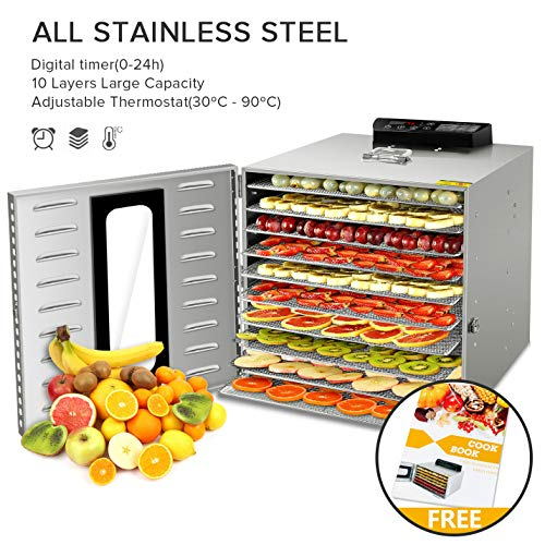 SHOGOU 10 Trays Commercial Stainless Steel Food Dehydrator