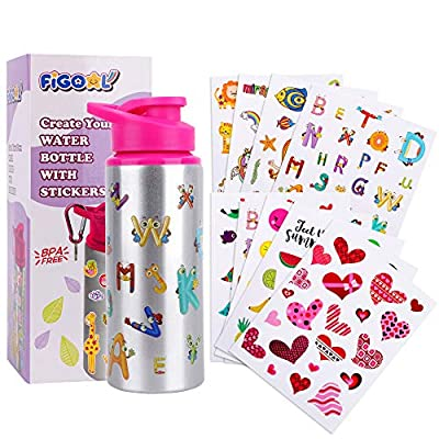 FiGoal Make Your Own Bottle with Assorted Designs Stickers DIY Decorate Your Own Water Bottle for Girls BPA Free 20 oz Kids Water Bottle DIY Art and Craft Set for Children