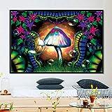 Flduod Visual Trippy Mushroom Mind Education Posters y Impreso Psicodélico Magic Black Light Wall Art Canvas Painting Home Decor-Sin Marco 40x50cm