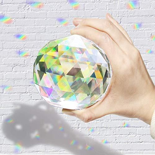 Hey_you Klarglas Kristallkugel Prisma Kristall Suncatcher Kugel Facettierte Blickkugel Ornament Prismen für Fenster, Sonnenfänger (100mm)