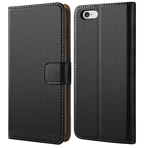 HOOMIL Funda para iPhone 6S, Funda para iPhone 6, Funda de Cuero PU Premium Carcasa para Apple iPhone 6/6S Smartphone (Negro)