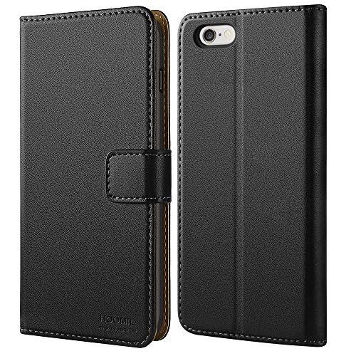 HOOMIL iPhone 6 Hülle, iPhone 6S Hülle, Premium Handy Schutzhülle für iPhone 6 / 6S Hülle Leder Wallet Tasche Flip Brieftasche Etui Schale 4,7 Zoll, Schwarz (H3005)