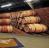 XHXI 3D barril de madera bodega bodega papel tapiz cerveza vino bar Ktv pared de papel industrial 3D papel Pintado de pared tapiz Decoración dormitorio Fotomural-430cm×300cm