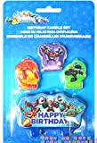 amscan Swashbuckling Skylanders Candle Set Birthday Party Cake Decorations (4 Pack), 2 1/4 x 3 3/10', Blue
