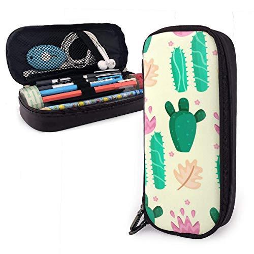 Estuche Escolar de Gran Capacidad, Bolsa de Lápiz Organizador para Material Papelería con Cremallera Doble Hoja de cactus colorida para Hombre Mujer Estudiante en Escuela Oficina