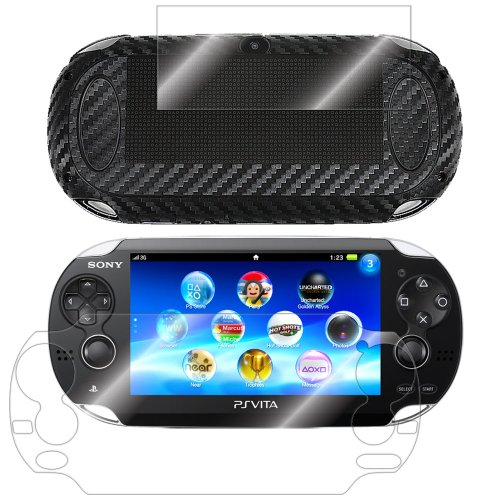 ArmorSuit MilitaryShield Black Carbon Fiber Skin Wrap Film + HD Clear Screen Protector for Sony Playstation Vita - Anti-Bubble Film