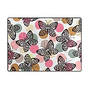 La Random Large Soft Rug 80×58 Inches Colorful Butterflies Non-Skid Lightweight Kids Nursery Yoga Rugs Play Mat for Living Room Bedroom Floor Mats