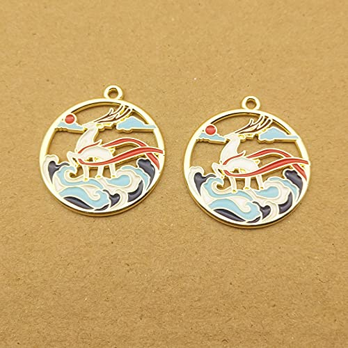 ZZMMSSGG 10Pcs Deer and Bird Sea Wave Enamel Charm for Making Cute Earring Pendant Bracelet Necklace Charms DIY Design Charms