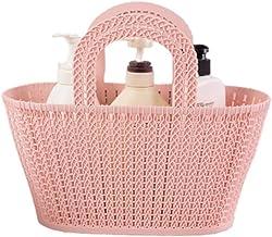 JQZLXXZL Men and Women Bathroom Wash Large Bathtub Blue Sundries Storage Basket Bathroom Portable Bath Basket Soft Rattan Bath Basket (Pink, Khaki) (Color : Pink)