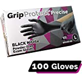 GripProtect Precise Black Nitrile Exam Gloves, Fentanyl Resistant, Chemo-Rated, for Food, Home, Hospital, Law Enforcement, Tattoo 100/bx (Large)