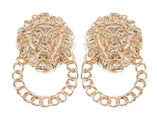 Alilang gouden tint Venetiaanse geëtste Lion King Heads ketting band-bouten oorbellen