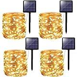 [4 Pack] Guirnaldas Luces Exterior Solar, Kolpop 24M 240 LED 8 Modos Luces LED Solares para Exteriores, Impermeables Guirnalda Exterior Solar Tira LED Solar Exterior para Jardín Terraza Bodas Fiestas