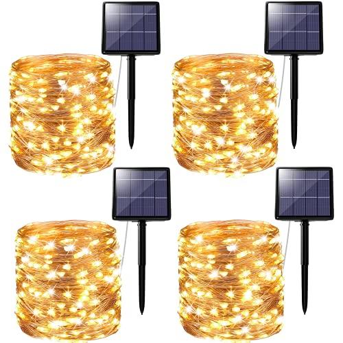 [4 Pezzi] Catena Luminosa Solare, Kolpop 24m 240 LED Filo Luci Solari Esterno 8 Modalità Impermeabili led lucine da Esterni Energia Solare Decorative per Giardino, Matrimonio, Natale, Festa, Patio