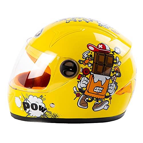 COOKTOP Motocross-Helm Für Kinder, Motorradhelm Für Kinder, Jungen & Mädchen, Cartoon-Stil Halbhelm, Outdoor-Sport, Sonnenblende Für 3-8 Jahre Alte Kinder,Gelb