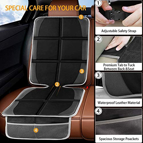 Car Seat Protector,(2 Pack) Large Auto Car Seat Protectors for Child Baby Car Seat,Thick Safety Padding Carseat Kick Mat with Organizer Pockets,Vehicle Dog Cover Pad for SUV Sedan Leather Seats